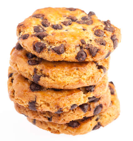 sapid: tower of chocolate cookies isolated on a white background