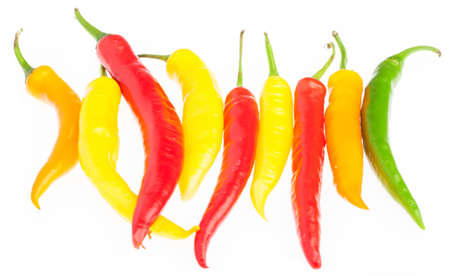 piquancy: group of chilli pepper isolated on a white background