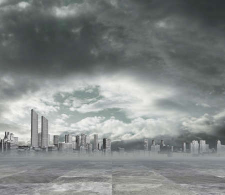polluted city background photo