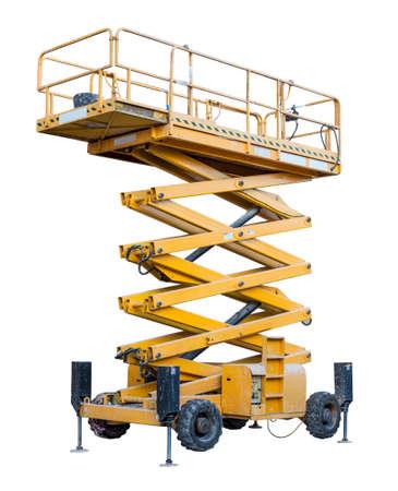 plataforma: Tijeras amarilla levantamiento aislados sobre fondo blanco