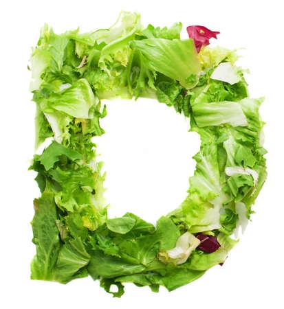vitamin d: d lettuce letter on a white background