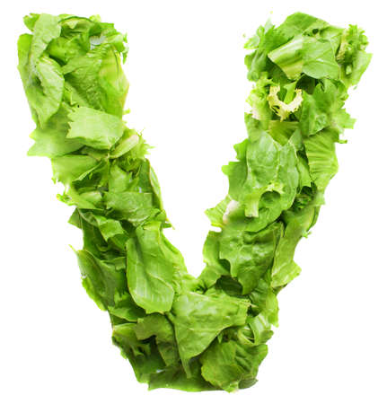 v lettuce letter on a white background