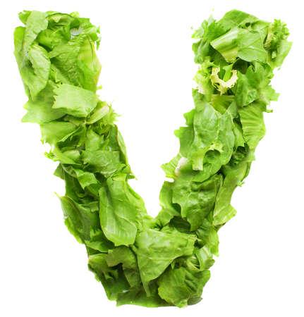 letter v: v lettuce letter on a white background