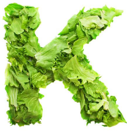 letter k: k lettuce letter on a white background