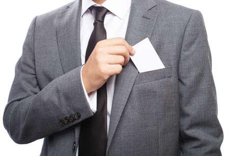 business man picking his business card closeup photo