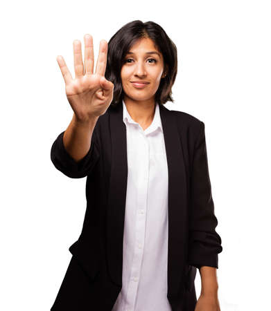 latin business woman doing number four gesture