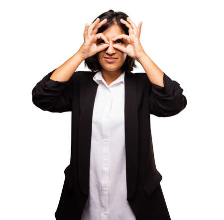 latin business woman doing glasses gesture Stok Fotoğraf