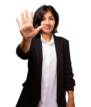 latin business woman doing number five gesture