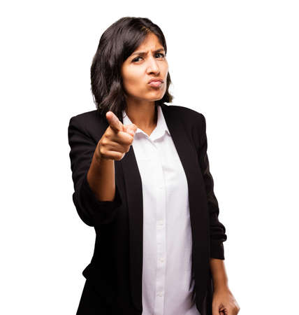 huffy: latin business woman pointing front