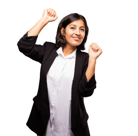 latin business woman doing winner gesture Stok Fotoğraf
