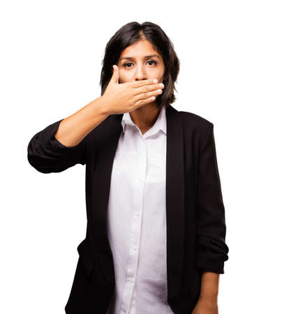 latin business woman covering her mouth
