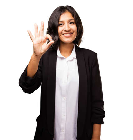 latin business woman doing okay gesture