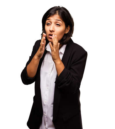 latin business woman coughing