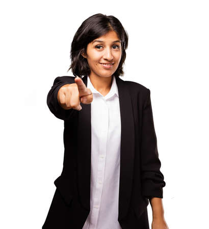 indicate: latin business woman pointing front