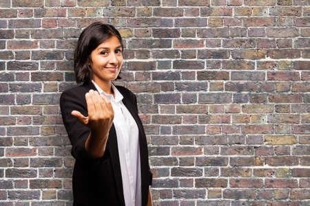 latin business woman inviting someone