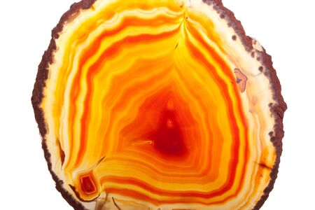 Close-up of slice of yellow and orange agate against white background photo