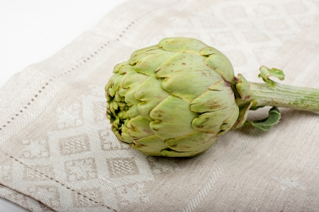 dishcloth: One artichoke on a dishcloth