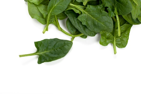 baby spinach: Fresh spinach leaves on white background