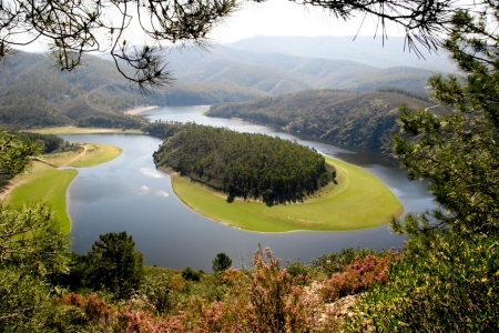 Meander of the Alagon River, known as Melero Meander in Las Hurdes, Extremadura  Spain  Stock Photo