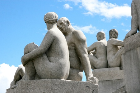 OSLO, NORWAY- JUNE 23: Statues in Vigeland park in Oslo, Norway on June 23, 2008. The park covers 80 acres and features 212 bronze and granite sculptures created by Gustav Vigeland.