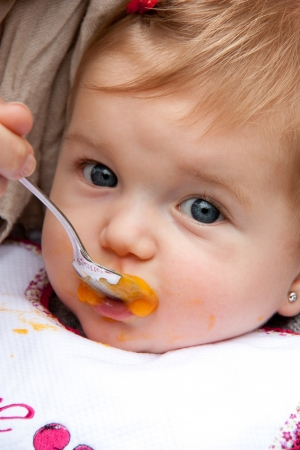 Adorable baby girl being fed by mom with a spoon in the park Stock Photo