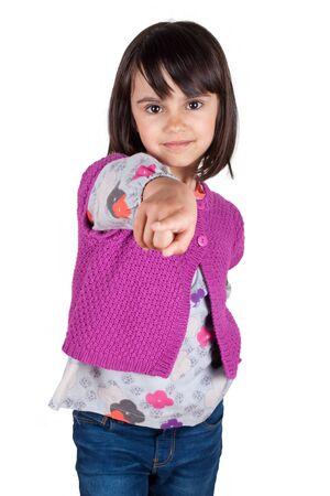 little finger: Little girl smiling pointing