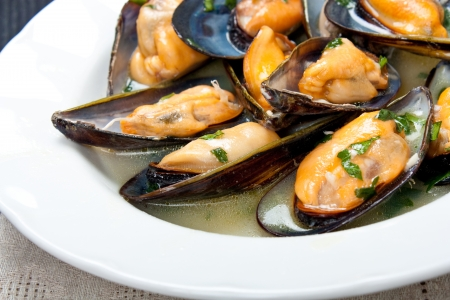 mussels: Mussels with white wine and parsley sauce