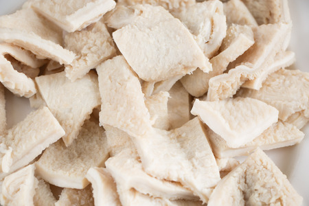 tripe: Close up of raw tripe pieces in a dish Stock Photo