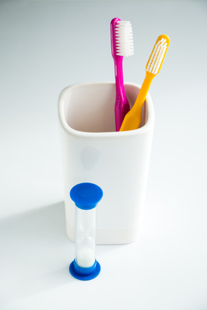 Concept of recommended time to brush your teeth  Soft focus  photo