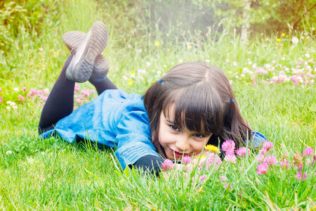 Happy little girl picking wild flowers lying in the grass Stock Photo