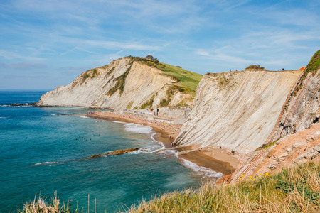 biotope: Itzurun Beach and flysch in Zumaia, Spain. The flysch between Zumaia and Deba has a first-order geological significance Stock Photo