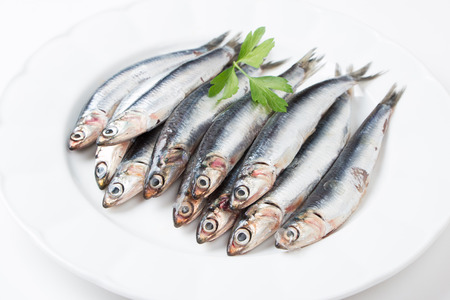 Fresh anchovies with parsley in a dish Фото со стока