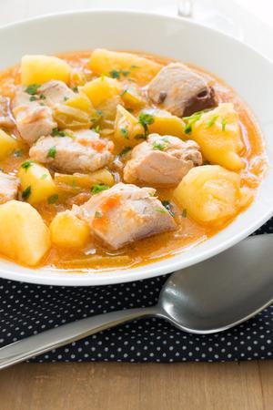 potato tuna: Tuna and potato stew called Marmitako in traditional Basque cuisine