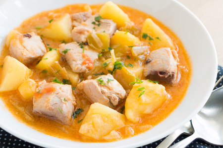 Tuna and potato stew called Marmitako in traditional Basque cuisine