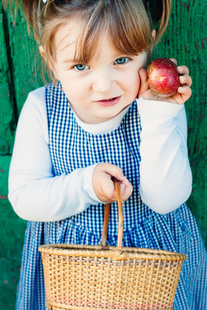 little girl dress: Proud and cute little girl with a plaid dress and a basket showing the apple she has picked Stock Photo
