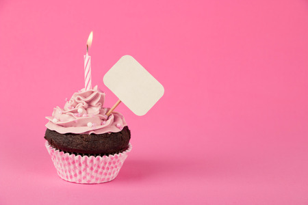Pink birthday cupcake with a candle and blank placard