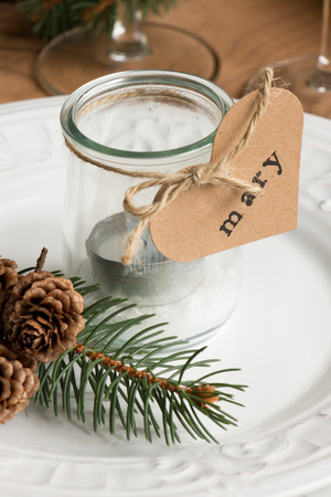 holders: Customized eco candle holders with jars and paper labels printed for a Christmas dinner