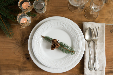 dinner food: Rustic and natural Christmas table setting. Top view.