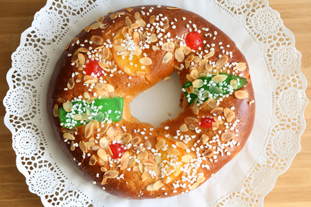 candied fruits: Roscon de reyes , Spanish typical dessert of Epiphany