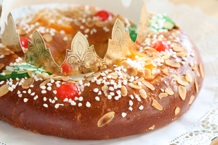 Roscon de reyes , Spanish typical dessert of Epiphany