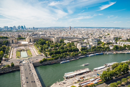 city park boat house: Aerial View on River Seine, Trocadero and la Defense from the Eiffel Tower in Paris Stock Photo