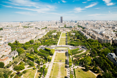 historical: Aerial view of Champ de Mars and Montparnasse Tower from the Eiffel Tower in Paris Stock Photo