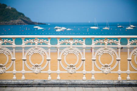 san sebastian: Railing of La Concha beach in San Sebastian, one of the most famous icon of the city