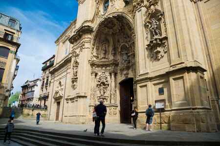 san sebastian: Portico of Santa Maria church in the Old Town of San Sebastian, Spain