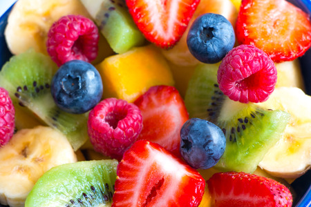 Close up of a varied and colorful fruit salad