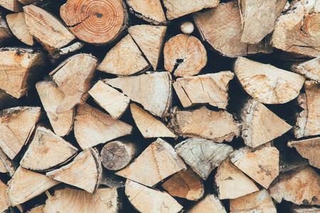 Natuurlijke brandhout stapel achtergrond