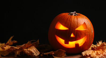 Halloween pumpkin lantern with dry leaves with black background