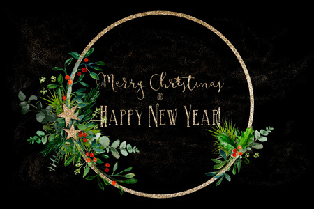 Minimal Christmas wreath with some  branches and golden glitter ring on a black background with greeting text Zdjęcie Seryjne