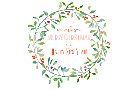 Watercolor Christmas wreath with branches and red berries with greeting text Stockfoto - 109517157