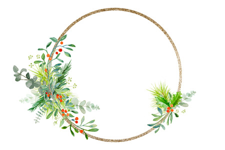 Minimal Christmas wreath with some  branches and golden glitter ring Zdjęcie Seryjne